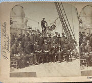 Uss Minneapolis Cruiser Captain Jewell And Officers Stereoview Spanish American