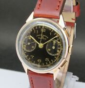 Vintage And Big Election Chronograph, 18 Kts Pink Gold, Excellent, Made In 40's