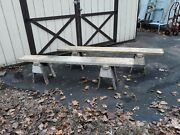 Antique Rustic Industrial Wooden Sawhorse Benches