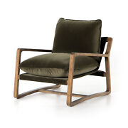 30 W Club Chair Modern Deep Low Seat Olive Suede Solid Hardwood Frame