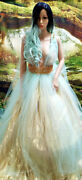 Blue Gold Lameand039 Lace Tulle Garden Nymph Babydoll Wedding Bridal Ballgown