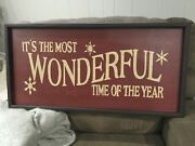 Pottery Barn Itand039s The Most Wonderful Time Of The Year Sign - Red Christmas New
