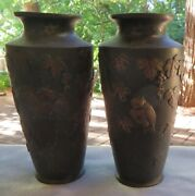 Two, Matched Set, Japanese Bronze Gilt Metal Vases With Owls And Vines