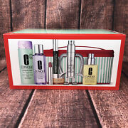 Best Of Clinique 8 Piece Gift Set With Full-sized Products In Makeup Bag New