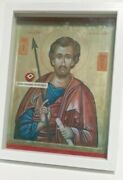 Saint Thomas Holy 3rd Class Cloth Relic Reliquary Clear Glass Front Wooden Frame
