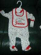 Carters Babys Christmas 1-piece With Bib My First Visit From Santa Size 3 Months