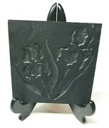 Vintage Stencil And Stone Made In Vt Gray Etched Slate Tile Trivet Hot Pad W Irisandnbsp