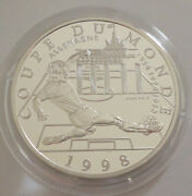 1997 France 10 Franc Silver Proof Coin France 98 World Cup Football Germany Coa