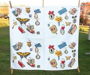 """Vtg Wilendur Momentos Tablecloth Cards Pipe Cameo Butterfly 34"""" X 32"""""""