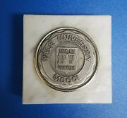 Vintage 2 Silver Tone Coin Yale University Lux Et Veritas Paperweight Marble
