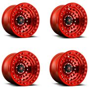 Set 4 17x9 Fuel D100 Zephyr Beadlock Offroad Only Candy Red 5x5 -15mm W/ Lugs