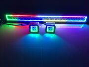 50 288w Offroad Led Light Bar W/ Chasing Rgb Halo + 3 Pods Fit For Jeep Truck