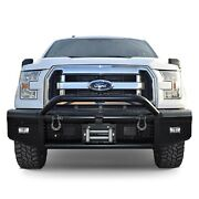 For Ford F-150 15-17 Bullnose Full Width Black Front Winch Hd Bumper W Hoop