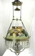 Restored Antique Copper And Brass Hanging Oil Lamp Hand Painted Floral Glass Shade