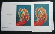 Merry Christmas Angels Playing Trumpet And Violin 7x11.5 Greeting Card Art 8005