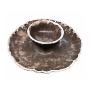 Delta C Pottery 12 Chip And Dip Tray Platter Ceramic Rustic Farmhouse Belzoni, Ms