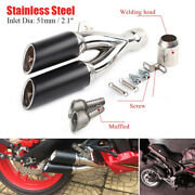 38-51mm Universal Dirt Bike Steel Double Exhaust Muffler Pipe Removable Silencer