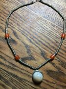 """Old Antique Tribal Necklace Brass, Agate And Carnelian Beads 20"""""""