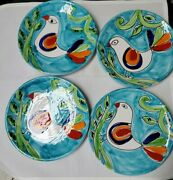 4 The Cellar Handpainted Pottery Salad Plates Bird Design Made In Italy 8