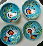 4 The Cellar Handpainted Pottery Soup/cereal Bowl Bird Design Made In Italy 8