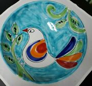 The Cellar Handpainted Pottery Serving Bowl Bird Design Made In Italy 11 3/4