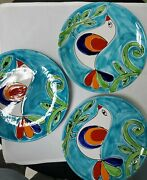 3 The Cellar Handpainted Pottery Dinner Plates Bird Design Made In Italy