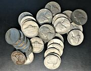 1954 D Nickel Circulated In Tube Partial Roll 1.70--34 Coins