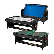 Fat Cat Original 3 In 1 Air Hockey Billiards And Table Tennis Game Table Blue