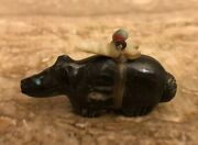 Collectible Native American Zuni Black Marble Bear Fetish By Peter Gasper Signed
