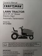 Sears Craftsman 20.0 Hp 42 Hydro Lawn Tractor 917.275662 Owner And Parts Manual