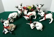 Vintage Set Of 7 Kimple Mold Ceramic Reindeer And Sleigh Hand Painted