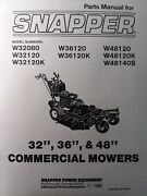 Snapper 32 36 48 Commercial Walk Behind Mower Parts Manual W32080 W48140s W36120