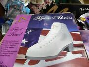 American Athletic Shoe Ware Girls White Figure Skates Style 512 Size 3 New
