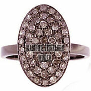 Vintage Style 0.99cts Genuine Old Mine Pave Rose Cut Diamond Silver Ring Jewelry