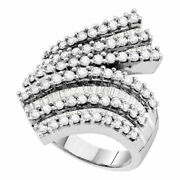 14kt White Gold Womens Round Diamond Bypass Cocktail Ring 2 Cttw