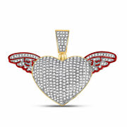 10kt Yellow Gold Mens Round Diamond Winged Heart Charm Pendant 1 Cttw