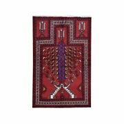 4and0399x6and0398 Vintage Farsian With Unusual Prayer Design Hand Knotted Rug R59642