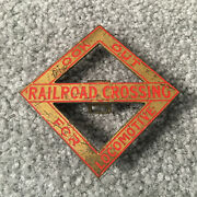 Lionel Train Look Out For Locomotive Railroad Crossing Sign Metal Red Letters