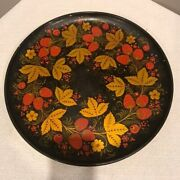 Vintage 13 Russian Hand Painted Strawberries Wood Platter Tray