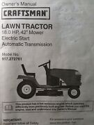 Sears Craftsman 18.0 Hp 42 Hydro Lawn Tractor 917.272761 Owner And Parts Manual