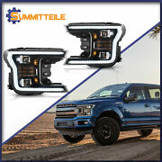 Full Led Upgraded Headlights Sequential Turn Signal Set For 2018-2020 F-150