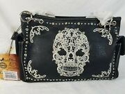Montana West Sugar Skull Conceal Carry Purse With Matching Wallet 1 Set - New