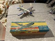 1950s United Airlines Dc-7 Mainliner Tin Friction Toy Airplane N46071