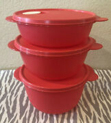 Tupperware Crystalwave Microwave Round Dishes Set Of 3 Coral 8 1/2 6 1/4 4cups