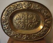 Antique Arts And Crafts Movement Brass Charger Tray