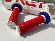 New Bike B1b Grips Red/blue/white Rare Old School Bmx Collectable