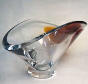 Kosta Boda Modern Thick Center Piece Clear And Rust-purple Signed And Labeled