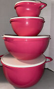 New Rare Pink Punch Color Tupperware 4 Thatsa Bowls 42, 32, 12, And 6 Cups Mixing