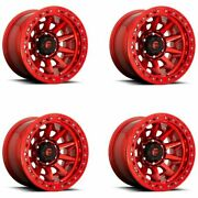 Set 4 17x9 Fuel D113 Covert Beadlock Offroad Only Candy Red 6x5.5 -15mm W/ Lugs