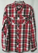 Eighty Eight Platinum Red Plaid Button Front Roll Tab Sleeve Shirt Menand039s Sz Xxl